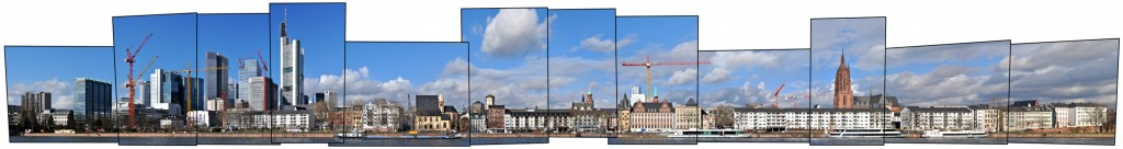 Frankfurt Mainkai mit Bankenviertel und Skyline im Panorama